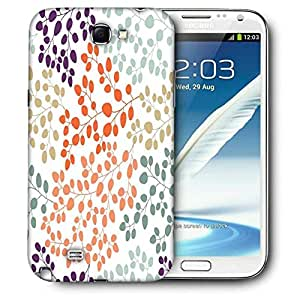 Snoogg Mixed Color Leaves Printed Protective Phone Back Case Cover For Samsung Galaxy Note 2 / Note II