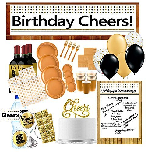 42nd Birthday Party Decoration Kit w. Gold Plates Napkins Cups Banner Water Bottle Labels Balloons Cake Topper Autograph Poster Thanks Stickers & More