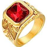 INRENG Men's Stainless Steel Ring Square Ruby Gemstone Gold Plating Wedding Band