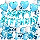 DAYPICKER Decorazione Festa di Compleanno Ragazzi, Palloncini Happy Birthday , Ghirlande, Palloncini in Lattice con coriandoli Palloncino in Foil a Cuore Palloncino a Stella
