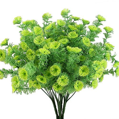 Nahuaa Künstliche Stäucher Pflanzen 4 Stücke Kunstpflanze Balkonblumen Kunststoff Kunstblumen Blumensträuße Plastikblumen für Draußen Garten Hochzeit Balkon Zimmer Party