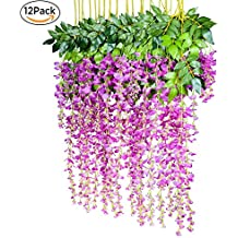 Lote de 12 flores artificiales de seda, diseño de glicinas, tamaño 110 cm, ideales como decoración de jardín, bodas y más