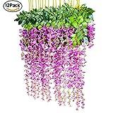 YQing Kunstblumen, künstliche Glyzinien, Heimdekoration, jeder Strang ist 110 cm lang, aus Seide, für Hochzeiten, zu Hause, Garten, Party, 12 Stück (Rot & Violett)