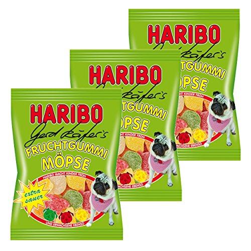 Haribo Gerd Käfer's Möpse Sauer, 3er Pack, Gummibärchen, Weingummi, Fruchtgummi, Im Beutel, Tüte, 200 g