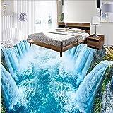 LHDLily 3D Tapete 3D Wallpaper Fresken Wandbilder Verdicken Etage Für Bäder Wasserfall Küche Wohnzimmer Fußboden Pvc Wasserdicht Boden 400Cmx300Cm