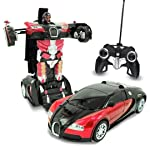 Cable World® Plastic Converting Car to Robot Transformer with Remote Controller for Kids, (Red and Blue)