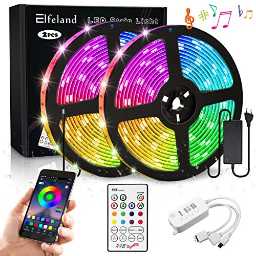 Elfeland LED Streifen 10M LED Stripes RGB 5050SMD 300 Led Bänder LED Strip steuerbar via App LED Band Sync mit Musik Lichtband Hintergrundbeleuchtung mit Fernbedienung IP65 Selbstklebend Beleuchtung -