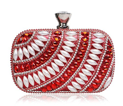 Donne Borse Beaded Clutch Dress Evening Party Wedding Chain Shoulder Borsetta Multicolore Rosso