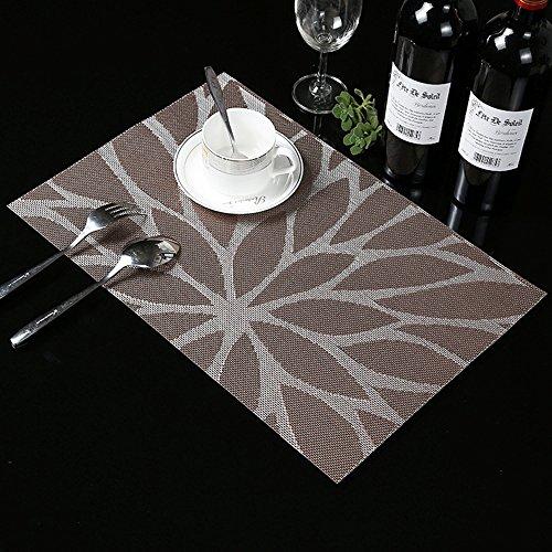 Kaze 6-teilig Platzset, PVC Tischset, Platzdeckchen, Rutschfest, Hitzebeständig, Blumen Muster, Braun