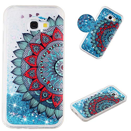 Miagon Flüssig Hülle für Samsung Galaxy A3 2017,Glitzer Weich Treibsand Handyhülle Glitter Quicksand Silikon TPU Bumper Schutzhülle Case Cover-Blau Mandala Blume