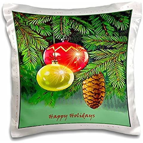 Sandy Mertens Vintage Christmas Designs - Ornaments on Tree and Pinecone - 16x16 inch Pillow Case