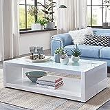 Moebella® Couchtisch Weiß Hochglanz mit Glasplatte Evo 130x70x37cm Glastisch Aluminium Gebürstet Weißglas