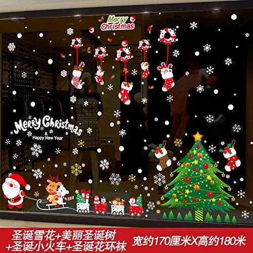HAPPYLR Fenster Glastür und Fensteraufkleber Ornamente Weihnachtsdekorationen Wandaufkleber Aufkleber selbstklebend Einkaufszentrum Shop-Szene-Layout, Weihnachten Schnee + Weihnachtsbaum Zug + Garland (Gold Tree Garland)