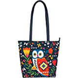 Chumbak Women's Killim Owl Polyester Tote Bag (Blue)