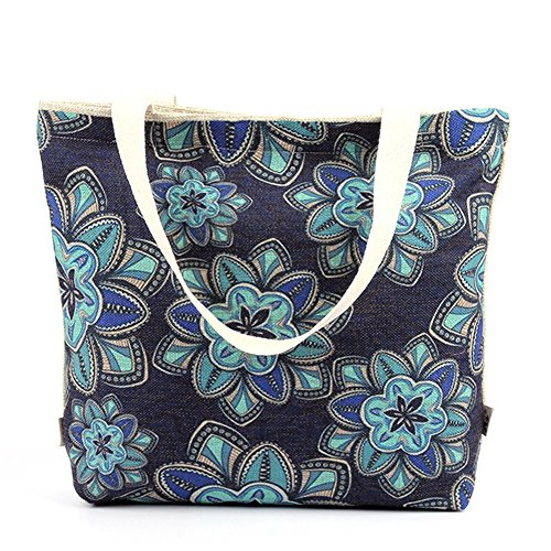 Wewod semplice shopping bag Khaki alla moda borsa, Cotone lino, Light Blue, 43cmx38cm