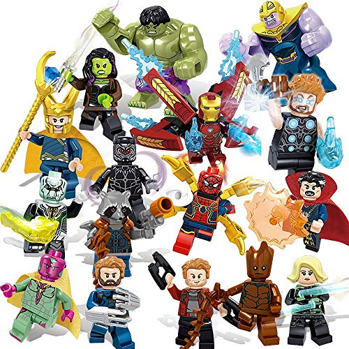 AMeu01 16 Stücke Minifiguren Superhelden-Set mit Zubehör, Actionfiguren Bauklötze Kinder Spielzeug, Super Heroes Set with Accessories, Kids Gift 0318