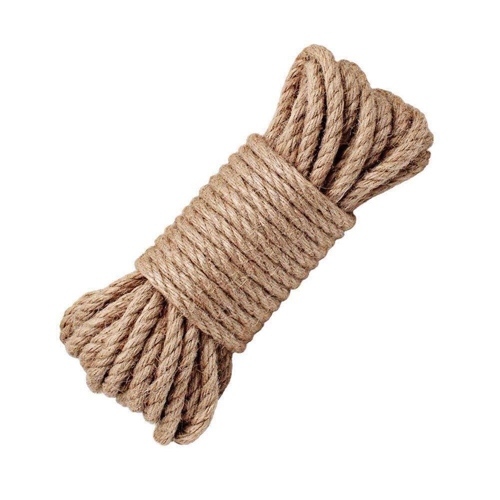 LUOOV – Cuerda 100% natural de cáñamo, 8 mm de grosor, soga fuerte de yute, cuerda para camping, jardines, barcos, juegos de guerra, mascotas, cuerda de escalada, cuerda de utilidad multiuso, 10 – 40 m