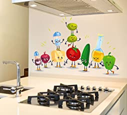 Luke And Lilly Cartoon Vegetables Wall Sticker For Kitchen( Pvc Vinyl, 120 Cm X 75 Cm)