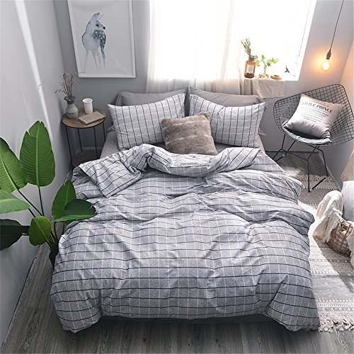 LongYu Reine Baumwolle mit Vier Sätzen, Mesh-Design und Bequemen Betten, Voll, Königin, König. (Color : Gray, Size : King)