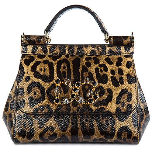 Dolce&Gabbana Schultertasche Leder Damen Tasche Umhängetasche Bag mini sicily da