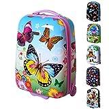 Karry Kinder Hartschalen Handgepäck Koffer für Mädchen LED Skater Rollen Schmetterling Butterfly 819