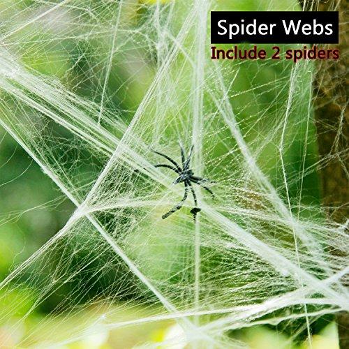 en-Dekorationen Drinnen draußen Super Strecken Giant Web, Weiß (A) (Hängen Spinnweben Halloween)