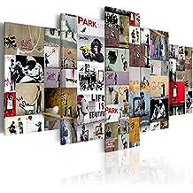 murando - Cuadro 200x100 cm - Banksy - Lienzo tejido no tejido - Abstraccion Cuadro Impresion en calidad fotografica i-C-0092-b-n Collage