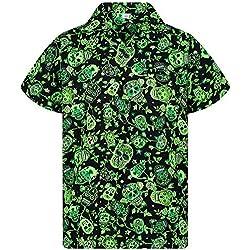 V.H.O. Funky Camisa Hawaiana, Skull, Green, L
