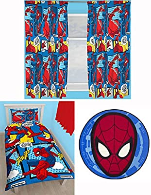 Official Spiderman Single Duvet Set with Matching Curtains and Rug