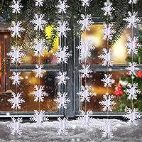 3 Metros de Copo de Nieve Decoraciones Colgantes para Fiesta de Navidad Año Nuevo Decoración Blanca, 36 piezas