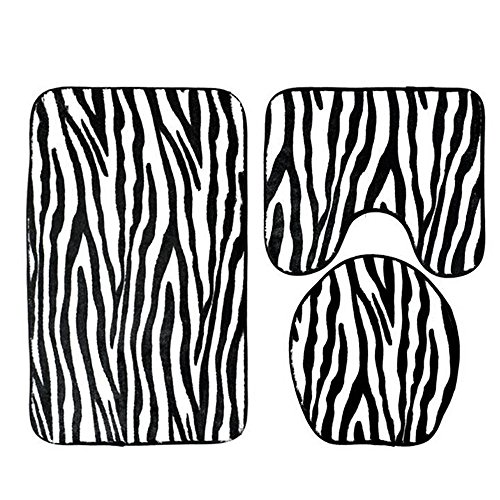 Prevently Zebra Toilettenmatte Set Badematten Set Badezimmer Non-Slip Badezimmer Teppich Set, 3 Stück Matte Rutschfest Bad-Teppich + Pedestal-Teppich + Toiletten-Abdeckung (Weiß)