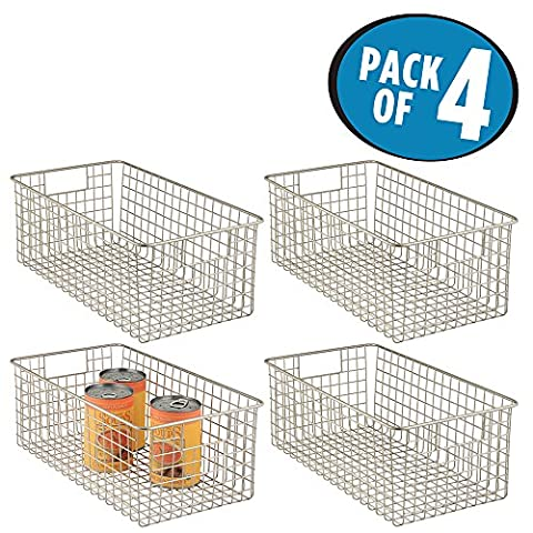mDesign Wire Basket - Flexible Wire Storage Baskets - Compact Wire Bin with Handles - Multi-Purpose Metal Basket -