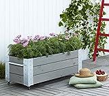 Woodinis-Spielplatz® Woodinis Cubic Blumenkasten Solitär Mobil 120x45x50 Graubraun fahrbar