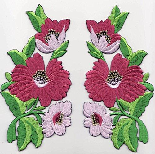 """Toppe toppa patch termoadesive fiore fiori termoadesivi termoadesiva applicazioni ricamate ricamato adesiva da cucire per stoffa jeans cucito """" 2 pezzi kit 2 fiori a 14 x 8 cm al pezzo """""""