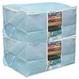 #9: Home Store India Underbed Storage Printed Bag, Storage Organizer, Blanket Cover with Handle - Blue Set of 2
