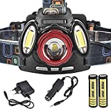 HCFKJ 8000Lm 3 X XML-T6 wiederaufladbare Stirnlampe Taschenlampe USB-Scheinwerferlampe + 18650 + Ladegerät