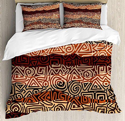 Vintage 3-teiliges Bettwäscheset Bettbezug-Set, Ethnic Strikes-Muster in braunen Farben Alte gebogene Spirallinien Afrikanische Figuren, 3-tlg. Tröster- / Qulitbezug-Set mit 2 Kissenbezügen, mehrfarbi -