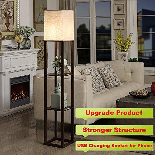 QIANGUANG Innenbeleuchtung 1,6m Holz Stehleuchte mit Regalen für Schlafzimmer und Wohnzimmer (keine Glühbirne) (Brown USB)