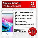 Vodafone MQ6H2ZD/A Apple iPhone 8 (silber) mit 64 GB internem Speicher, Vodafone Smart XL inkl. 11GB Highspeed Volumen mit Max 500 Mbits, inkl. Telefonie- und SMS Flat, EU-Roaming, 24 Monate Min. Laufzeit, mtl.