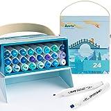 Arrtx ALP 24 couleurs Marqueurs à Feutre Alcool, Conseils Doubles Croquis d'art Permanent Marqueur Surligneur Graphique avec