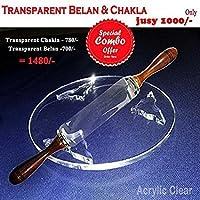 Gulwan Transparent -Roti Roller/Chakla-Belan/Rolling Pin, 22 Cms, Round