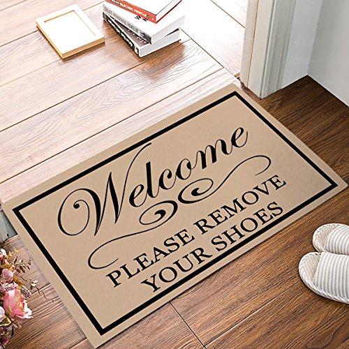 KCOUU Welcome Fußmatte, Bitte entfernen Sie Ihre Schuhe Indoor/Outdoor rutschfeste Gummi Welcome Mats Boden Teppich für Badezimmer/Front Diele, Flanell, 16X24 (Blättern Sie Indoor-outdoor-teppich)