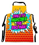 Fresh Publishing Ltd 'OMG It's Mustafa The BBQ Man!', Personalised Name, Humorous Comic Art Design, Canvas Apron, Size 25in x 35in approximately