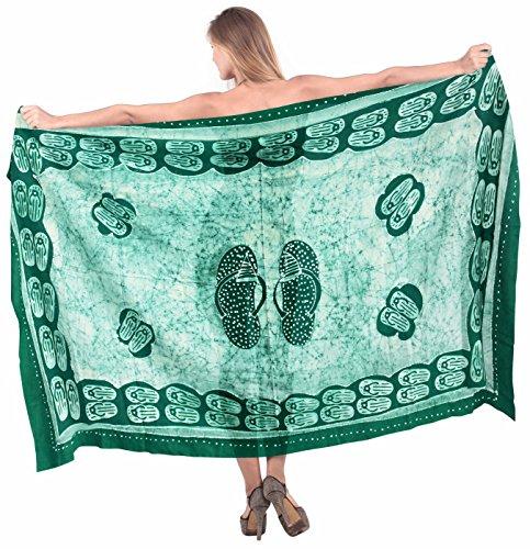 cotone batik gonna formato più costumi da bagno bikini turbolenza delle donne coprire abito pareo Verde 2