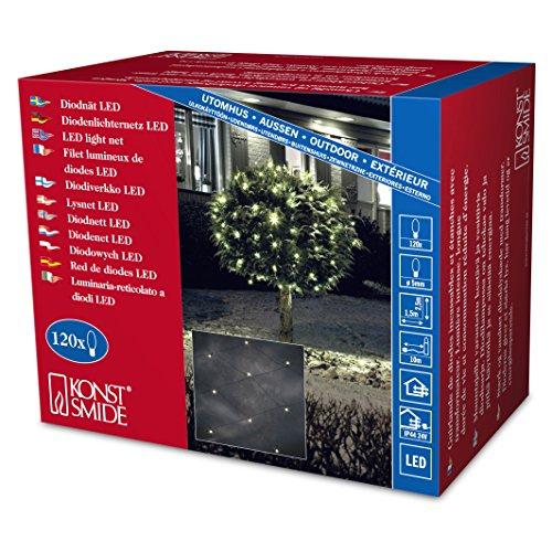 Konstsmide 3751-100 LED Lichternetz / für Außen (IP44) /  24V Außentrafo / 120 warm weiße Dioden / schwarzes Kabel