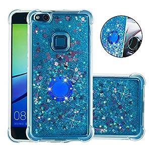 FAWUMAN Hülle für Huawei P10 Lite Diamant Ring Flüssig Treibsand Silikon TPU Bumper Hülle für Huawei P10 Lite(Blaue Liebe)