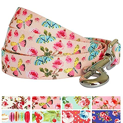 Blueberry Pet Durable Spring Scent Inspired Rose and Butterfly Print Pastel Pink Dog Lead 150 cm x 2cm, Medium, Leads for Dogs, Matching Collar & Harness Available