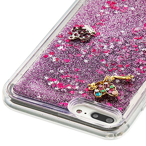 Case iPhone 7 Plus 3D Bling Diamant Design Coque, Sunroyal Glitter Bling Bling Dual Layer en Soft TPU Silicone Housse Transparent Clair Back Cover Strass Cristal Protecteur Étui Paillettes Flottant Li A-03