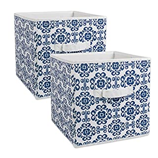 DII Fabric Storage Bins for Nursery, Offices, Home Organization, Containers Are Made To Fit Standard Cube Organizers (11x11x11) Scroll Nautical Blue - Set of 2