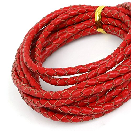 New 2Meter Dia 4mm 100% Genuine Leather Cord Round Braided Leather Rope String Cords for Bracelet Necklace Jewlery Material Supplies Red